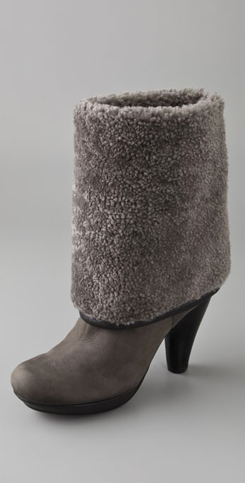 Chie Mihara Amanecer Shearling Boots In Gray Lyst