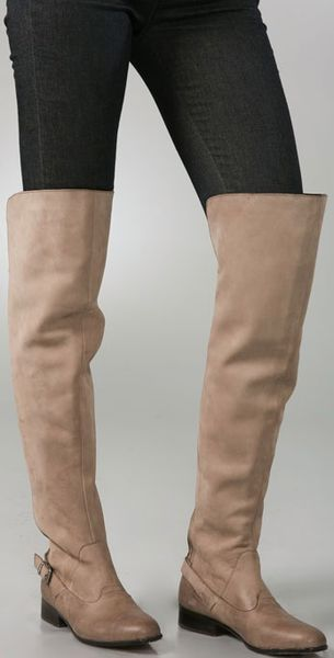 Dolce Vita Davie Over The Knee Boots In Beige Taupe Lyst
