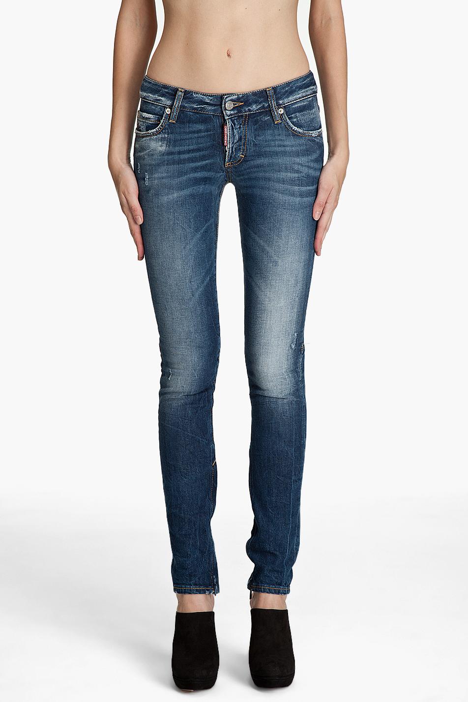 lyst dsquared super skinny low rise jeans in blue. Black Bedroom Furniture Sets. Home Design Ideas