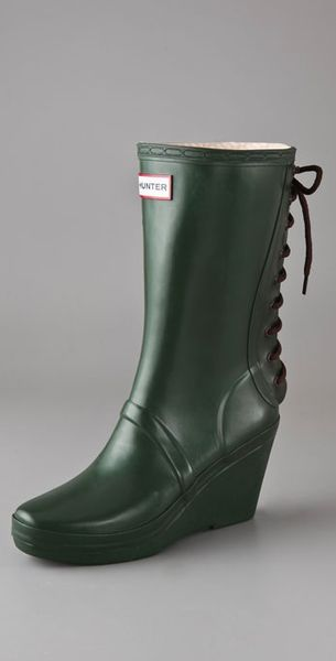 verbier wedge boots with lace up detail in green lyst