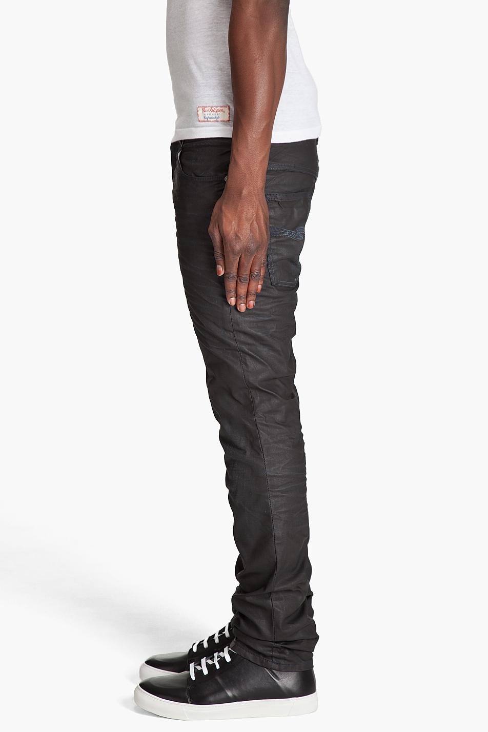 lyst nudie jeans thin finn black coated jeans in black. Black Bedroom Furniture Sets. Home Design Ideas