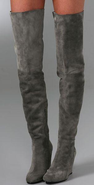 Stuart Weitzman Hiup Over The Knee Suede Boots In Gray Lyst