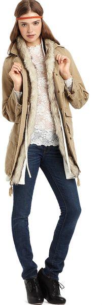 Free People Faux Fur Trimmed Herringbone Parka Jacket In