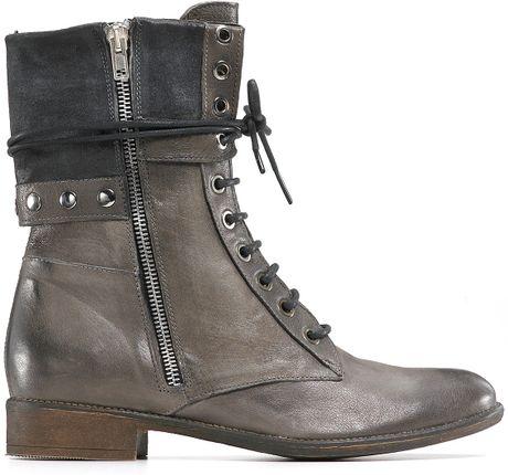 Boutique 9 Rivit Short Lace Up Combat Boots In Brown