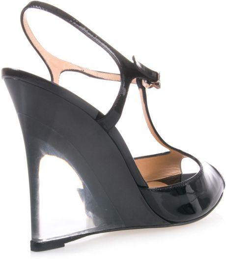 casadei clear heel wedge shoe in black lyst