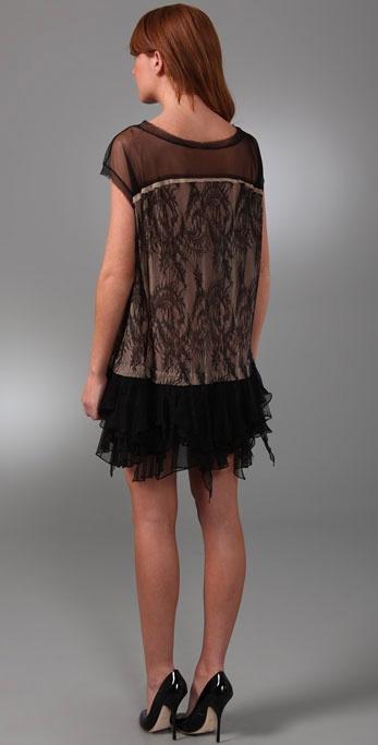 Foley Corinna Ruffle Lace Dress In Black Lyst