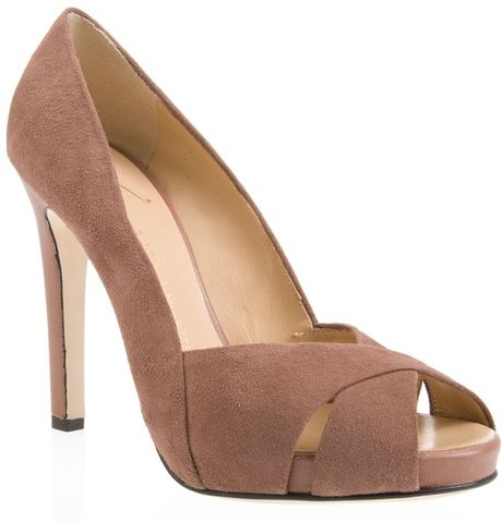 giuseppe zanotti suede court shoe in pink lyst