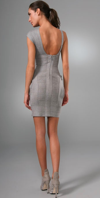 Hervé léger Layered Bandage Dress in Gray | Lyst