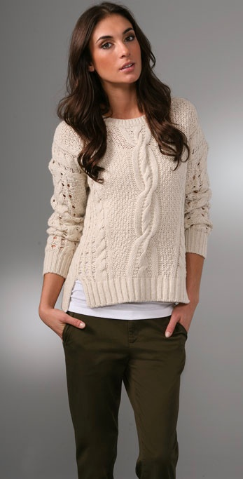 Lyst Vince Cable Knit Wool Blend Cropped Sweater In White