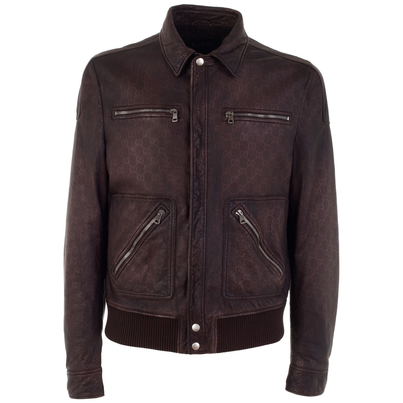Gucci Worn Leather Jacket in Brown for Men   Lyst