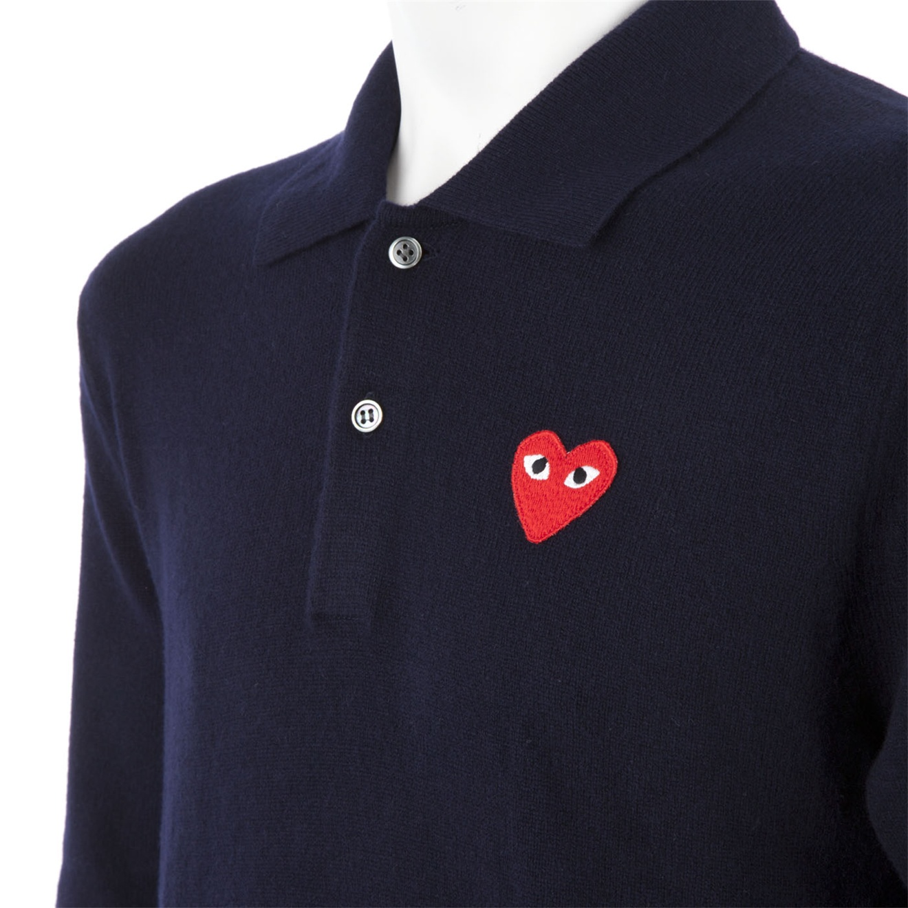 c6c677e9b Play Comme des Garçons Long Sleeved Polo Shirt in Blue for Men - Lyst