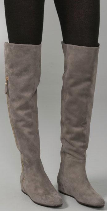Lyst Stuart Weitzman Elf Suede Over The Knee Wedge Boots