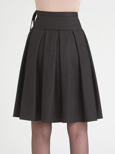 armani pleated stretch flannel box skirt in gray charcoal