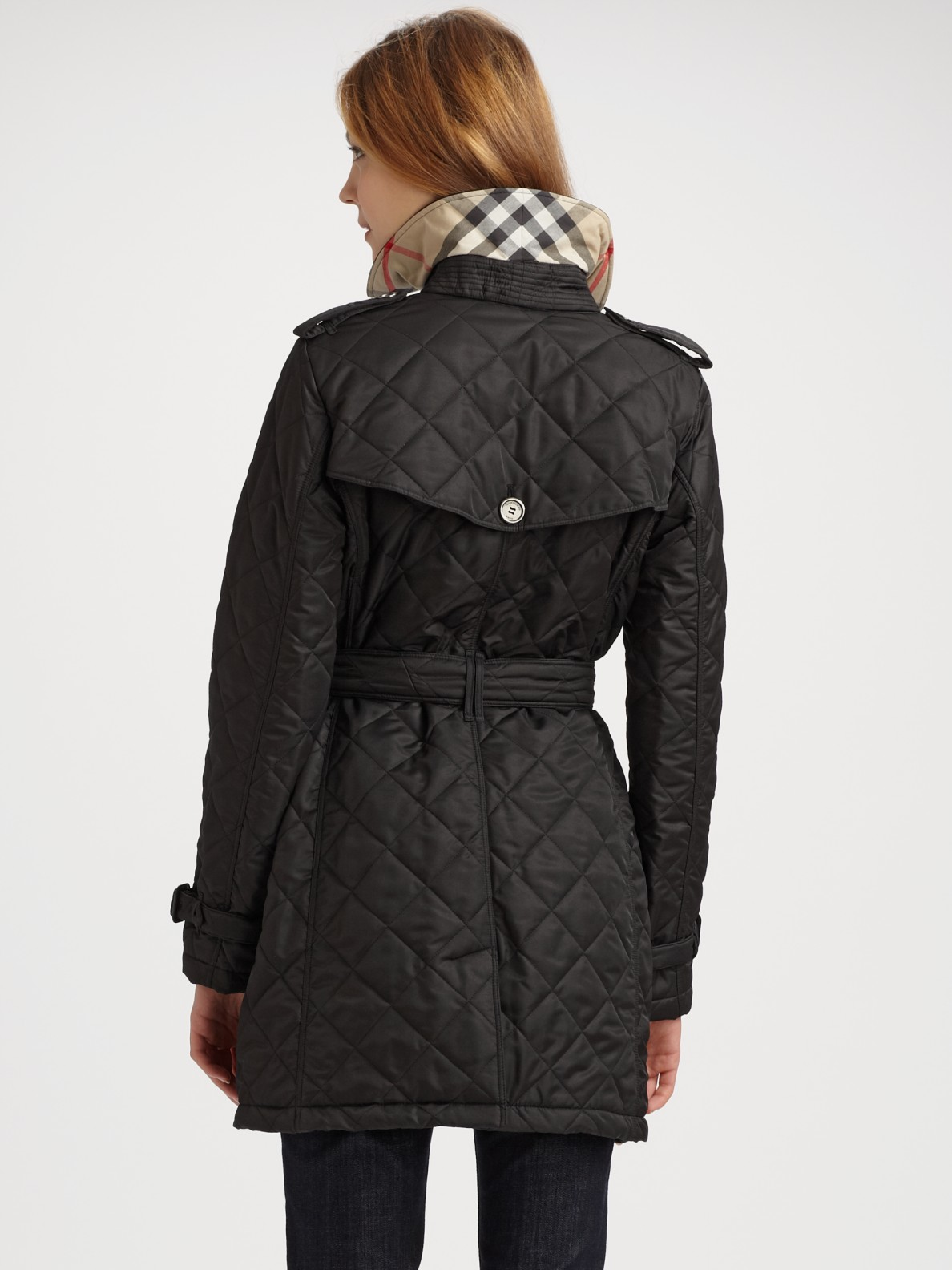 Burberry brit Quilted Trench Jacket in Black | Lyst : burberry quilted trench - Adamdwight.com