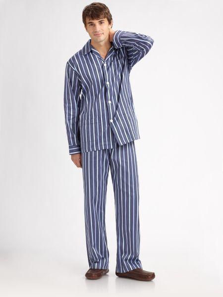 Derek Rose Royal Striped Pajamas Set In Blue For Men Navy