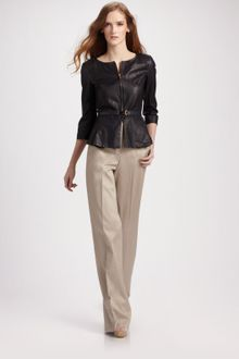 Fendi Belted Peplum Leather Jacket - Lyst