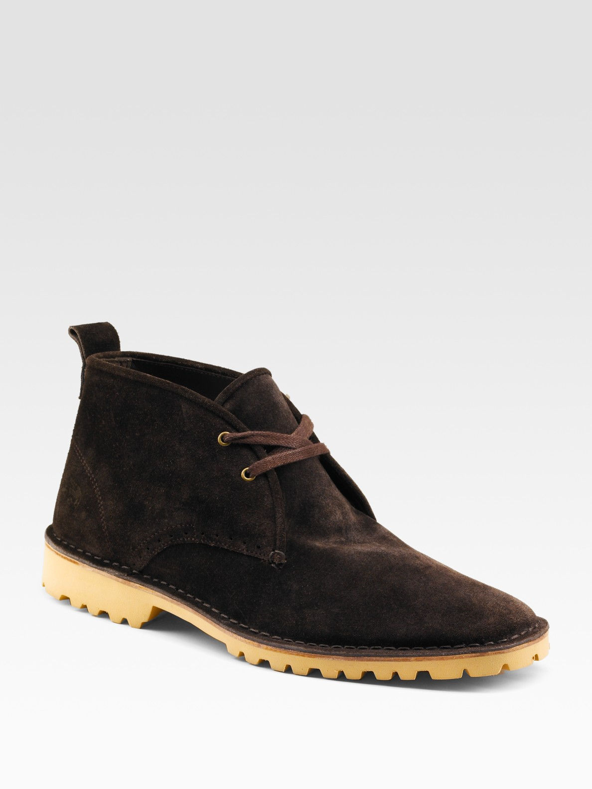 lacoste mesocco suede desert boots in brown for lyst