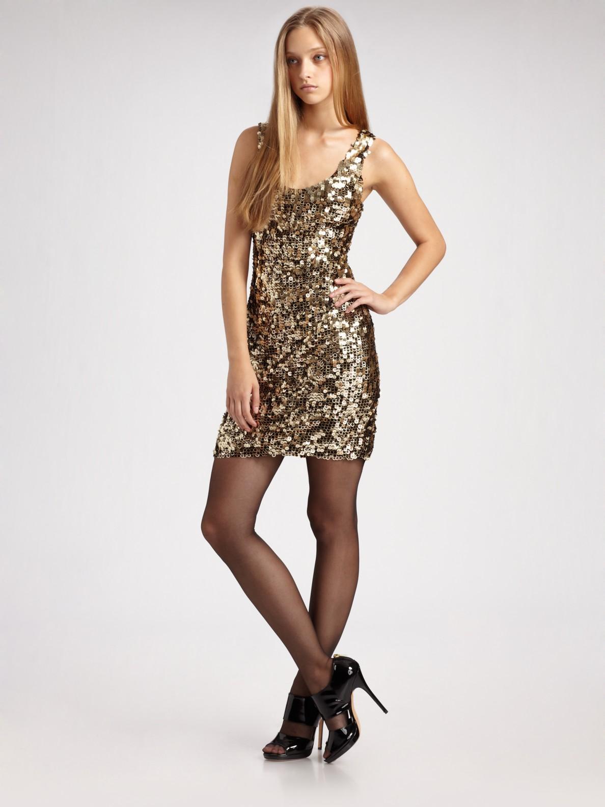 All Saints Gold Sequin Dress