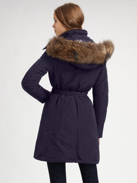 Moncler Poitiers Fur Trimmed Down Coat In Blue Navy Lyst