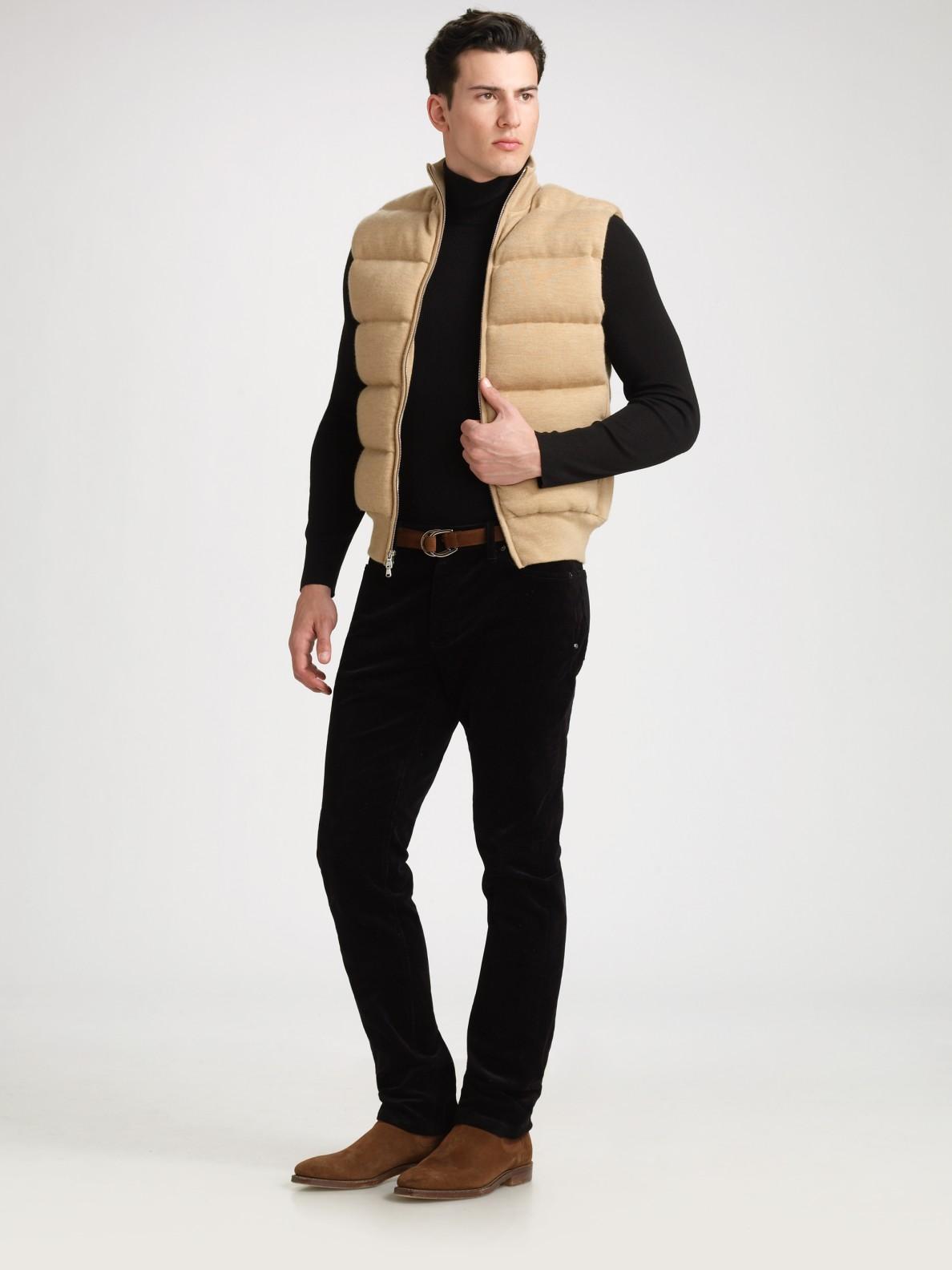 Ralph Lauren Black Label Mockneck Sweater Vest In Beige