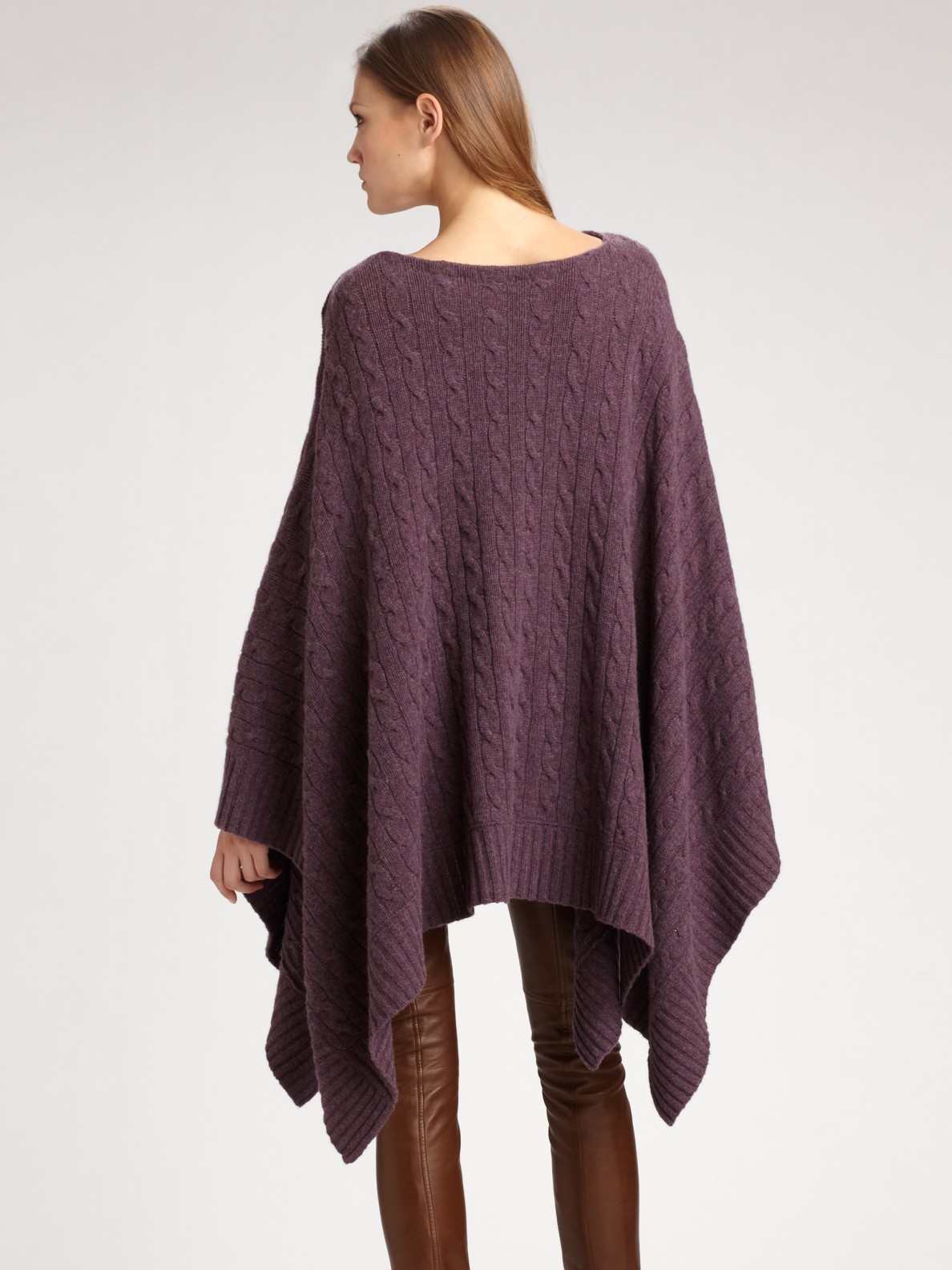 well known good texture most popular Wool/cashmere Cable-knit Poncho