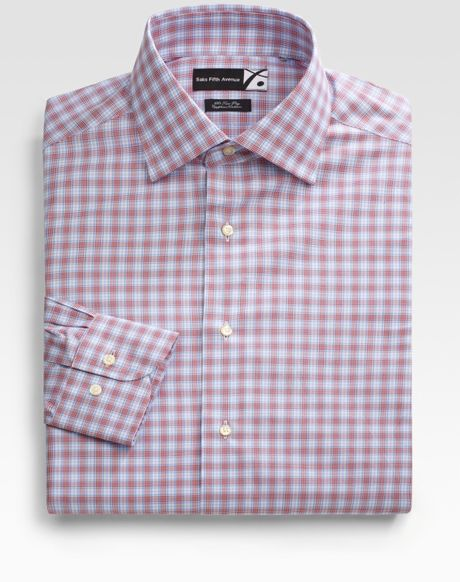 Saks Fifth Avenue Men Collection Plaid Dress Shirt In