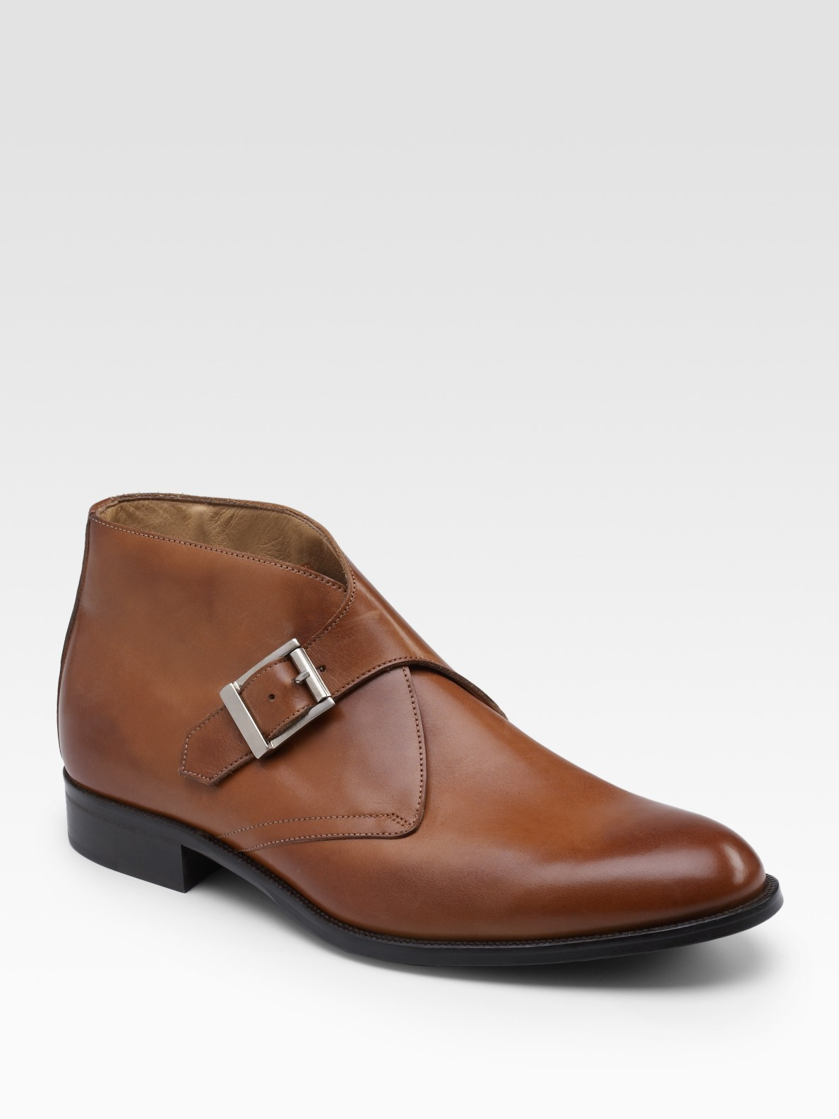 saks fifth avenue monk ankle boots in brown for