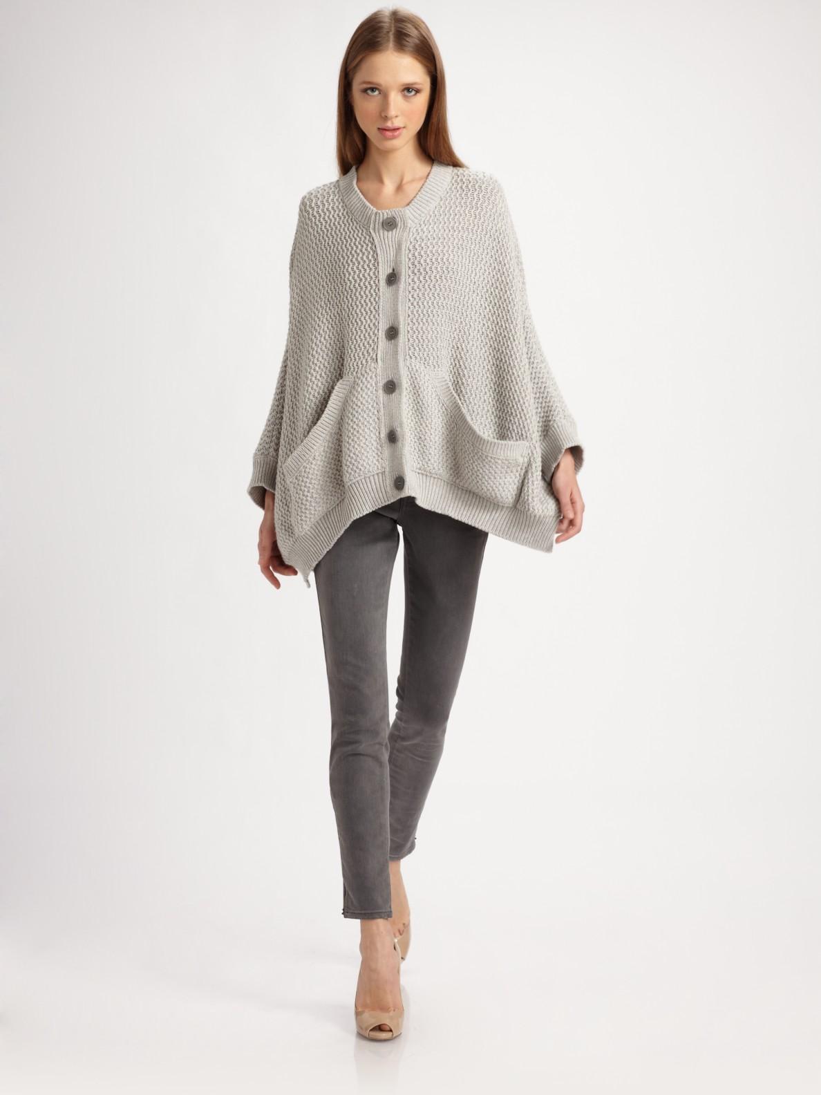 Lyst - Splendid Duster Metallic Cotton-blend Cardigan in Gray