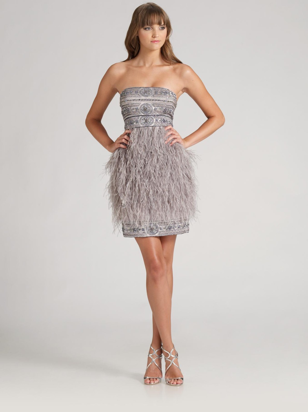 Sue Wong Feathered Cocktail Dress In Gray Gold Lyst