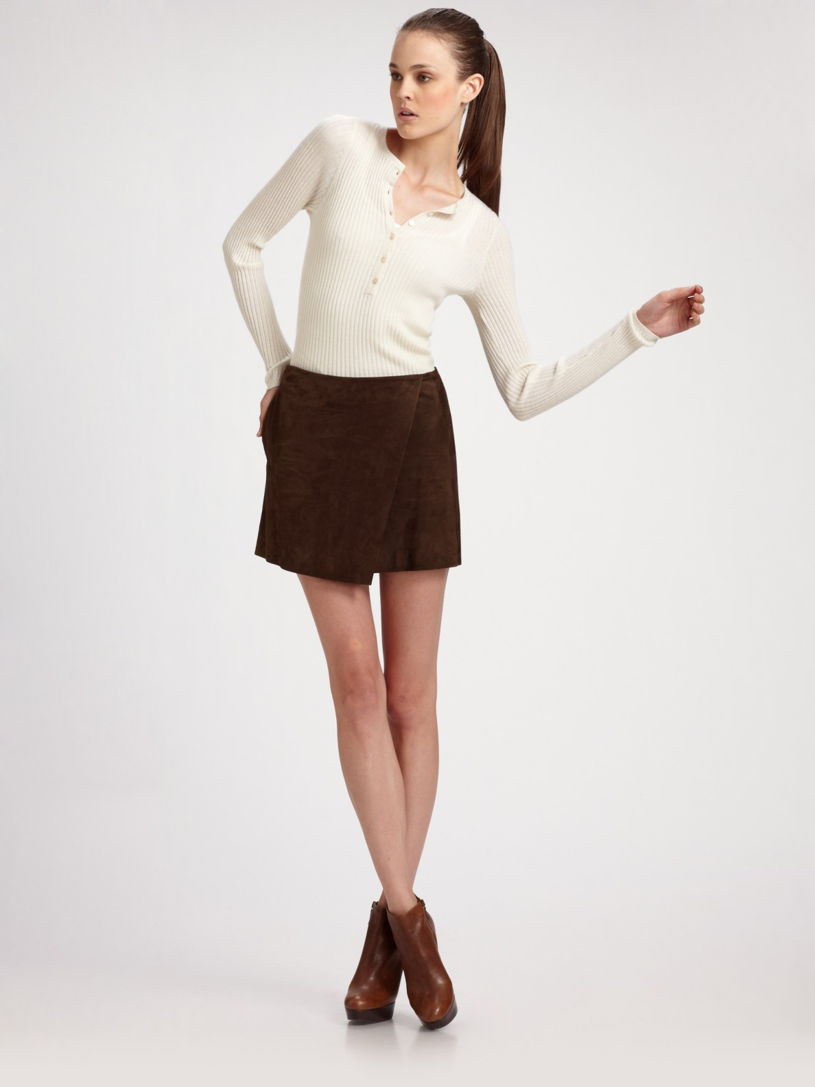 Lyst Vince Suede Wrap Front Skirt In Brown