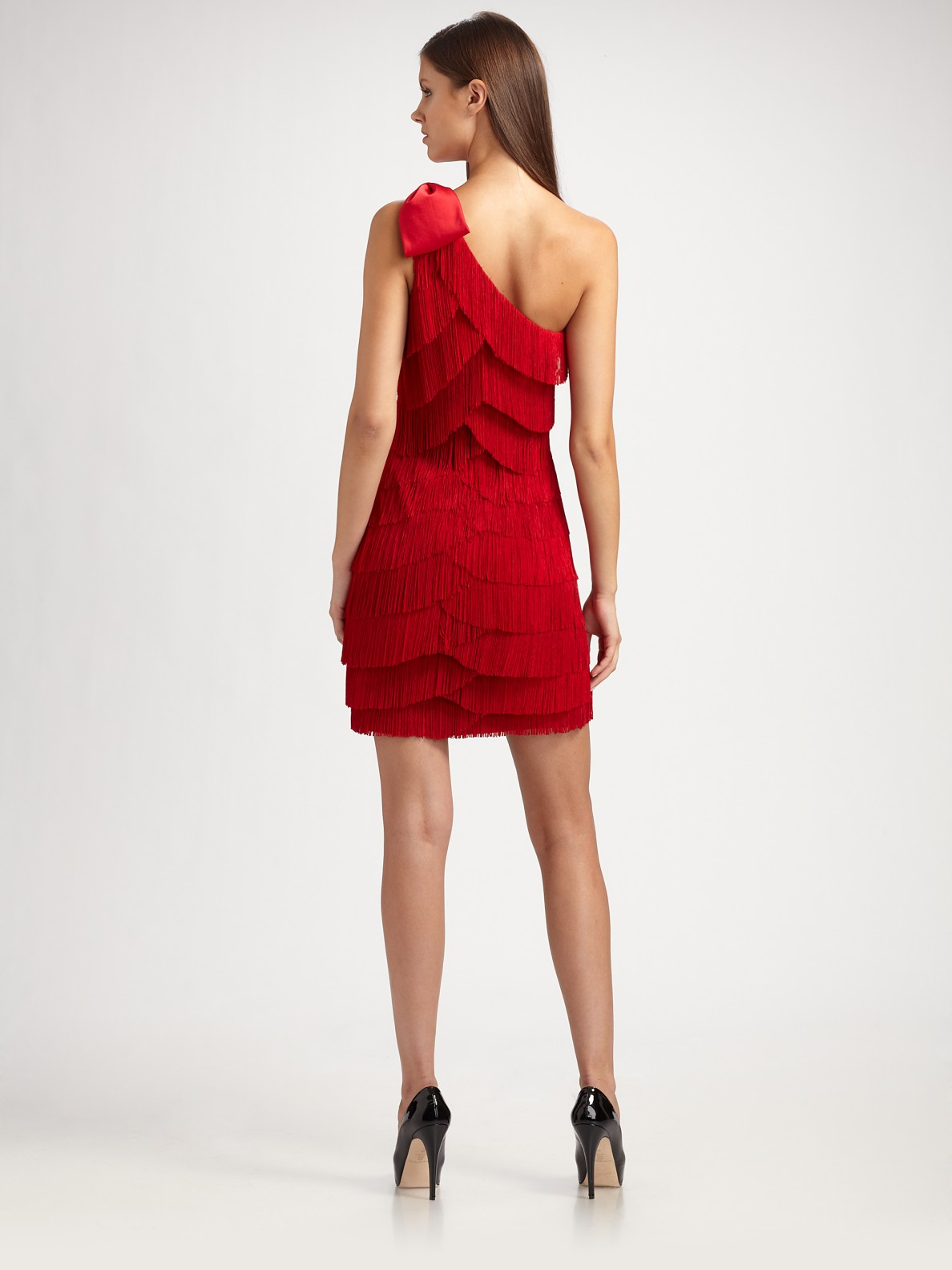 Aidan mattox one shoulder fringe dress in red lyst gallery ombrellifo Gallery