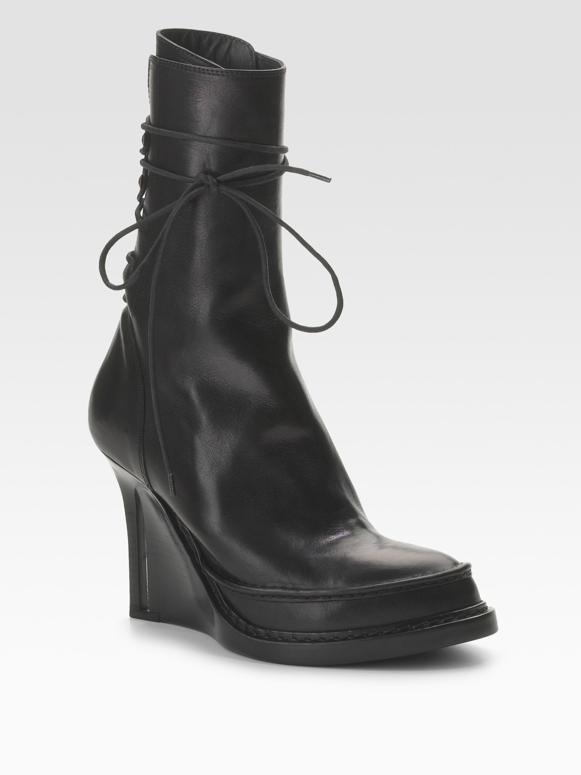 Ann demeulemeester back lace up ankle boots in black lyst