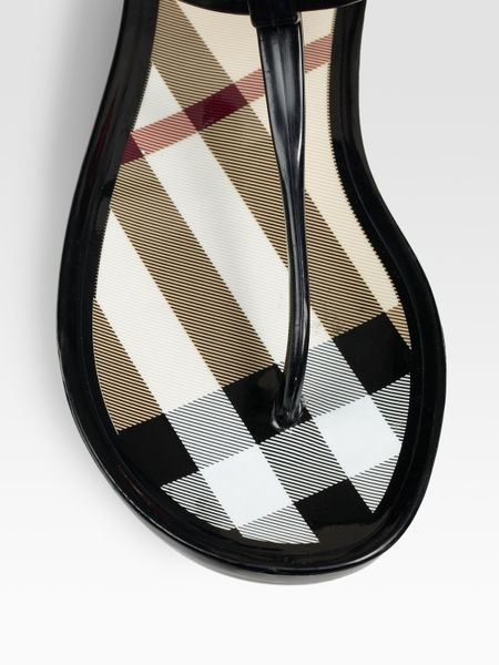 Burberry Rubber Thong Sandals In Black Lyst
