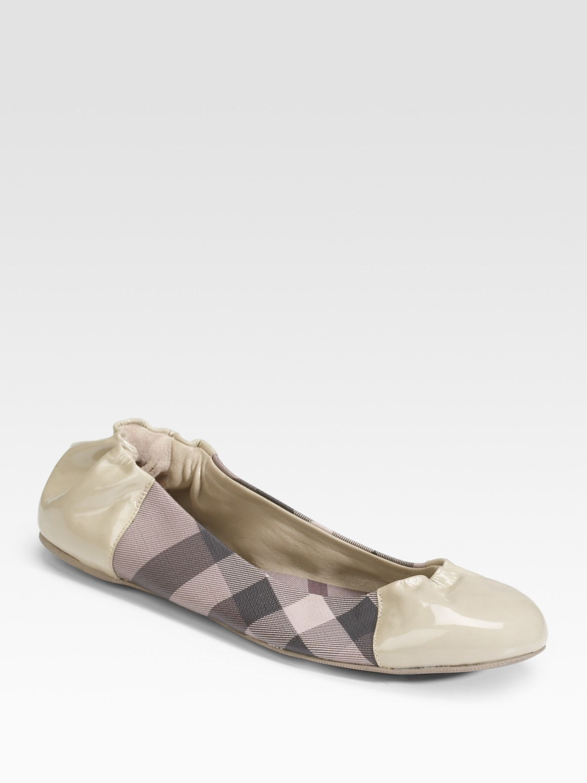 burberry coated canvas patent leather ballet flats in