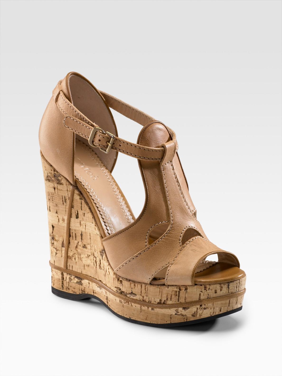 Chloé T-strap Platform Cork Wedge Sandals in Brown | Lyst