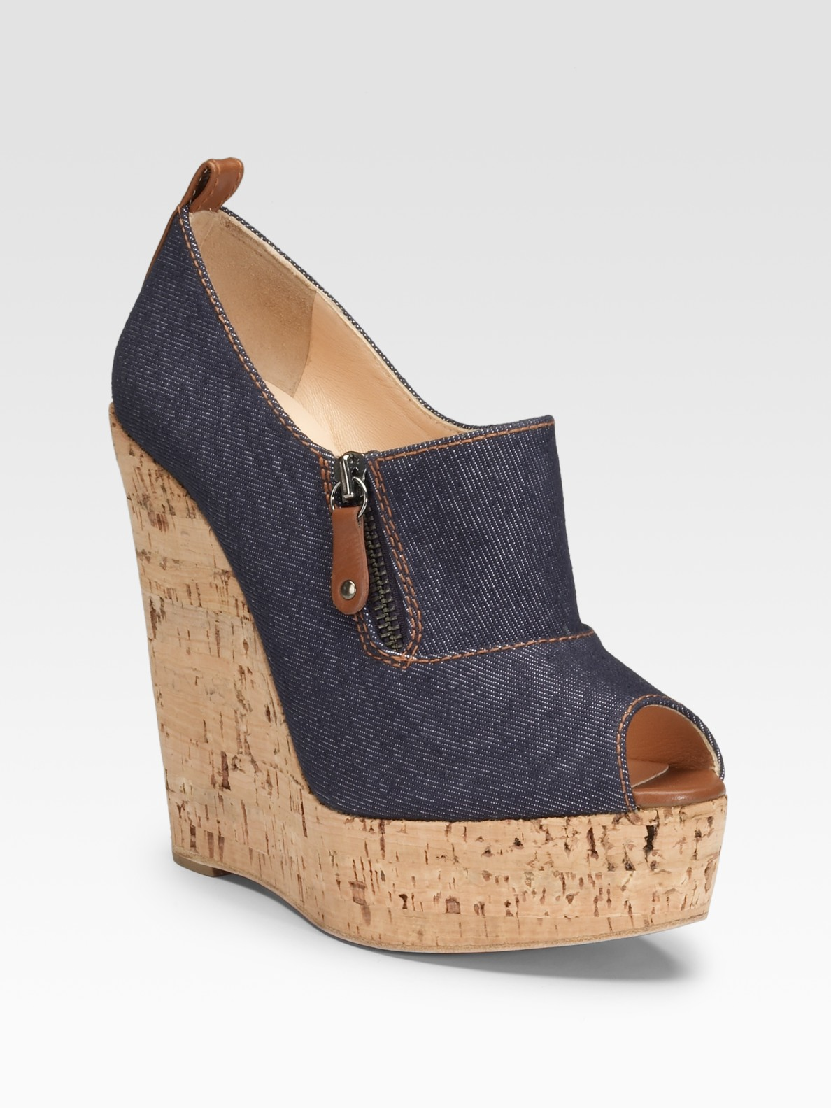 christian louboutin shoes for men price - Christian louboutin Deroba 140 Denim Peep-toe Wedges in Blue ...
