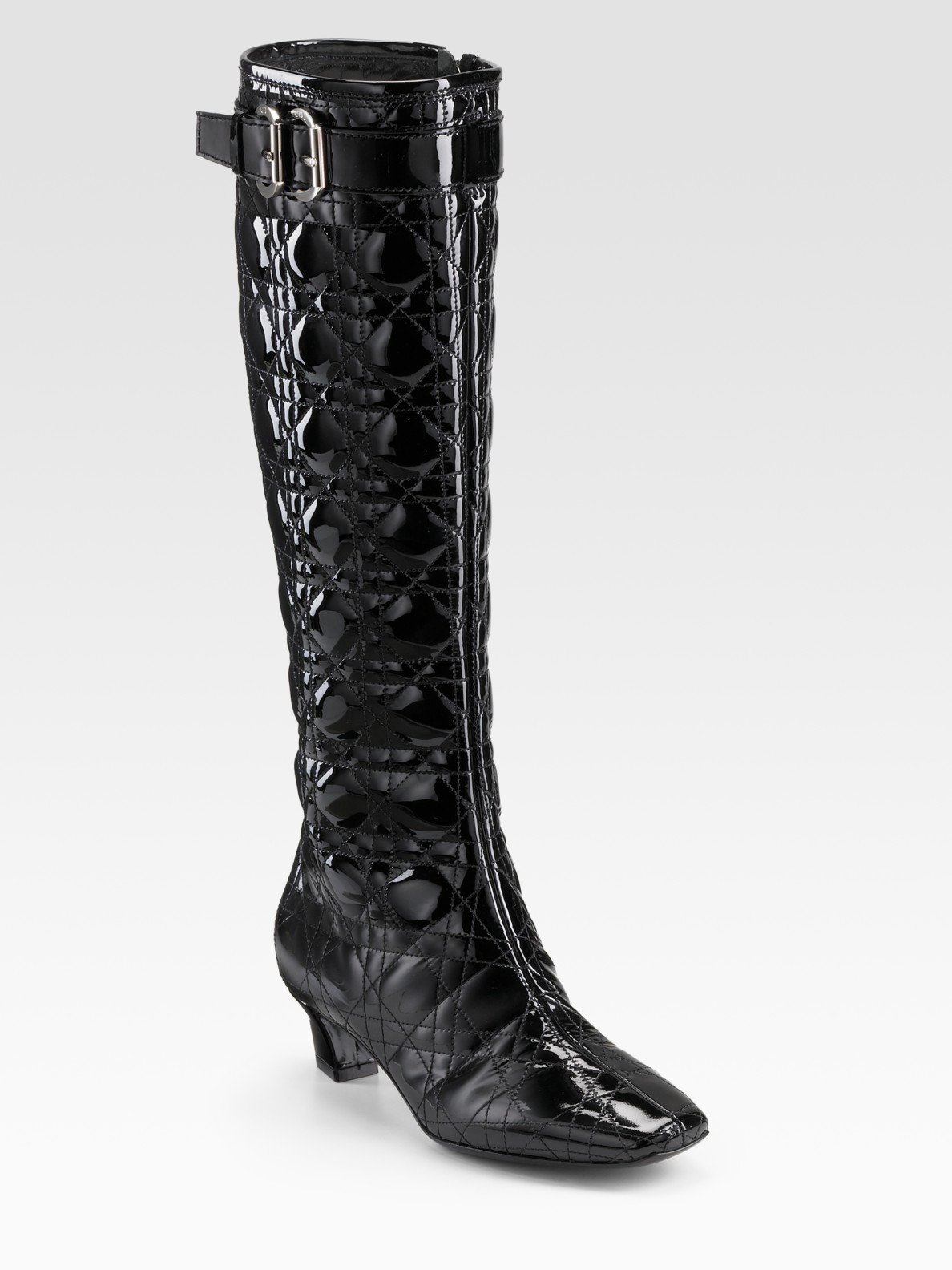 Dior Cannage Patent Leather Boots In Black Lyst