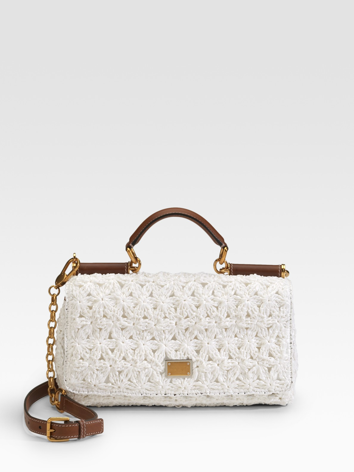 Lyst - Dolce   Gabbana Miss New Sicily Raffia Top Handle Bag in White 72a65613296e6
