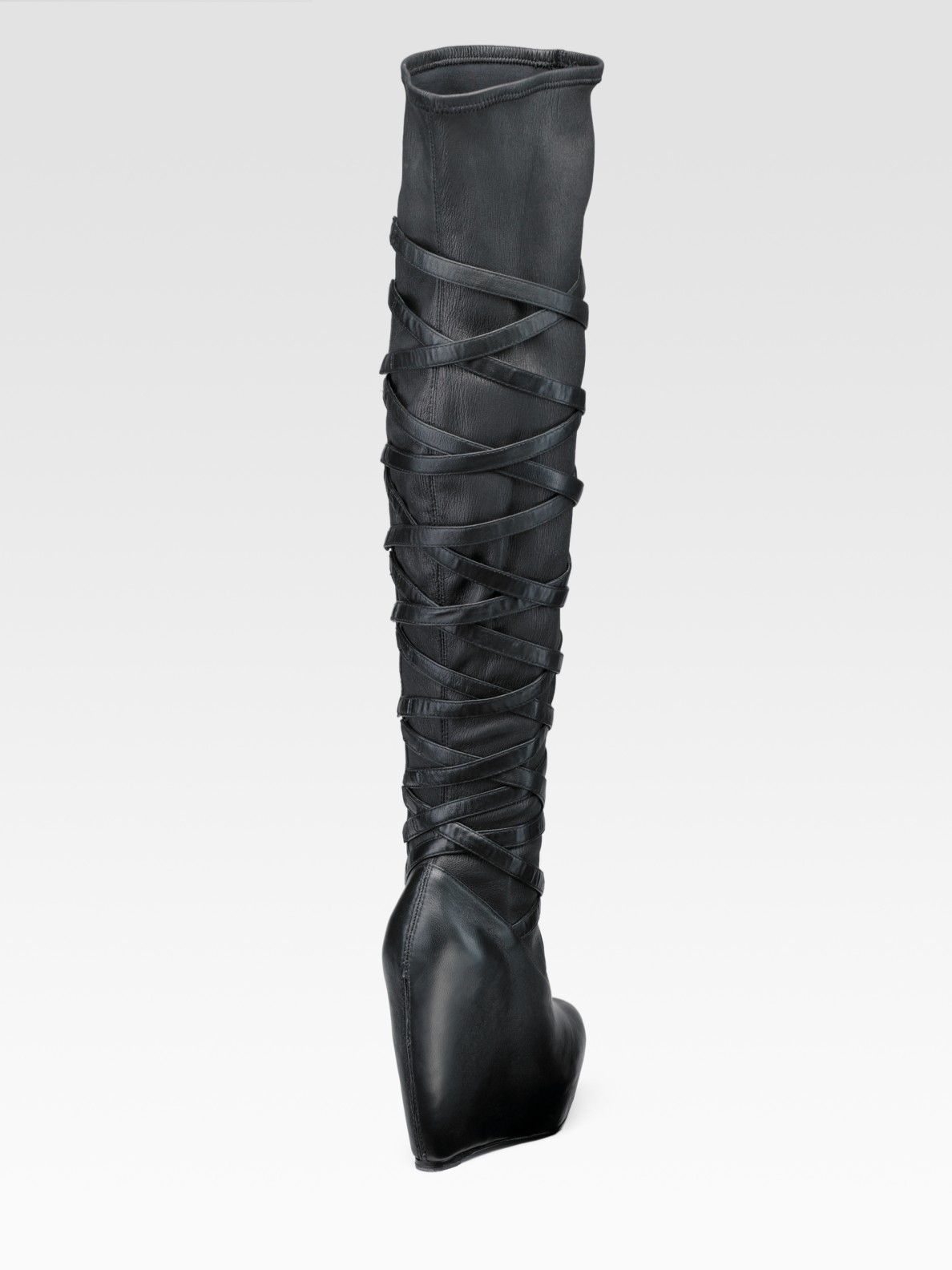 Elizabeth and james Wrapped-wedge Over-the-knee Boots in Black | Lyst