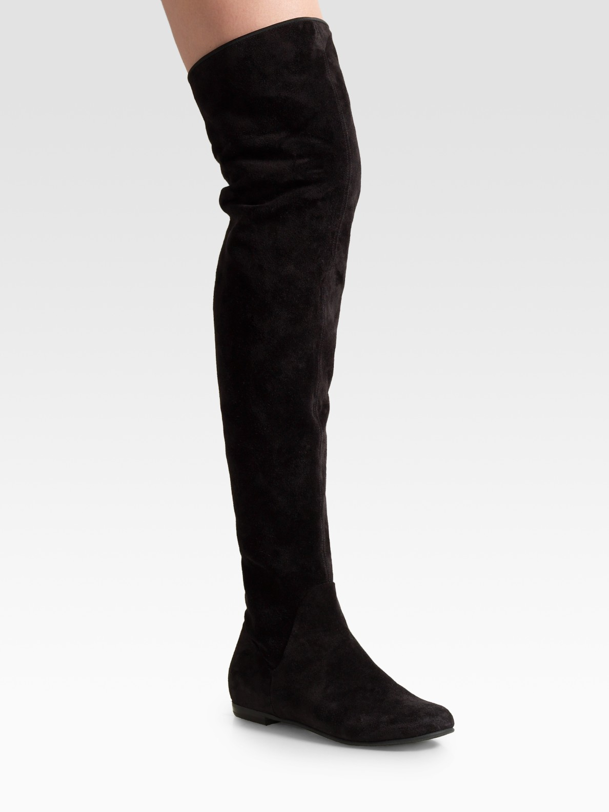 Giuseppe Zanotti Black Suede Over The Knee Flat Boots Lyst