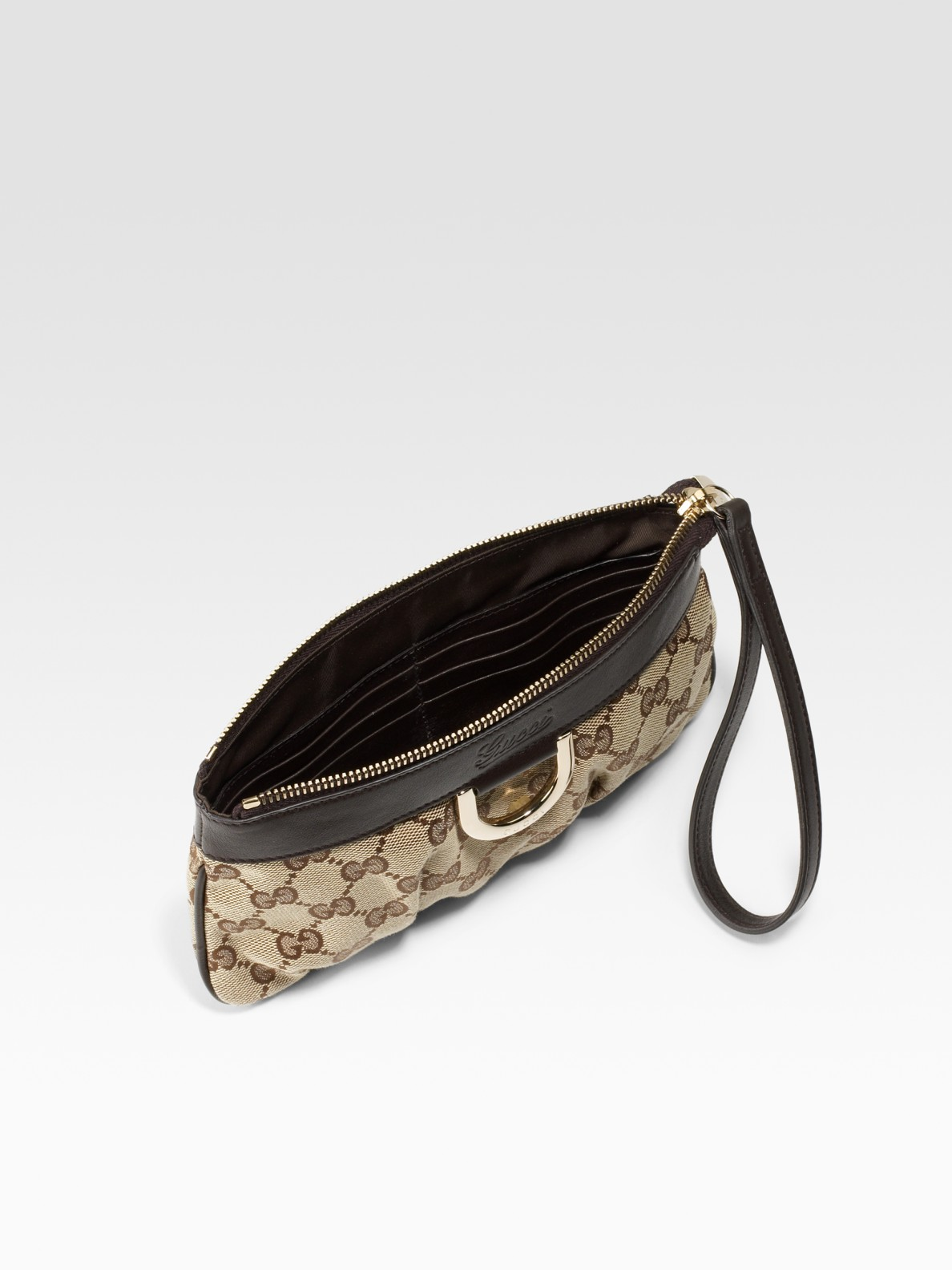 719036a1be66a3 Gucci Wrist Wallet D-gold Wristlet in Natural - Lyst