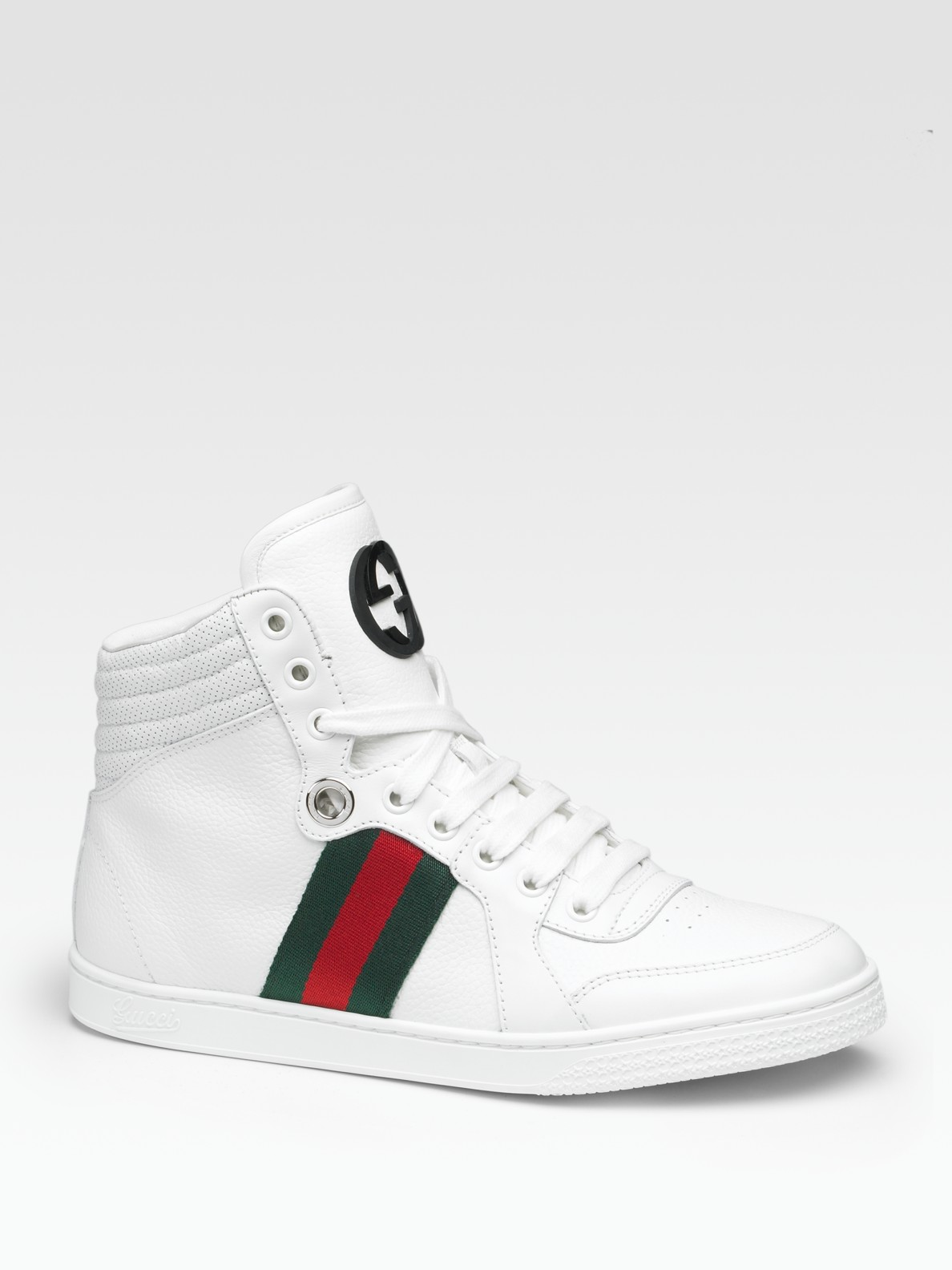 d95859ed7 Gucci Coda Leather Lace-up Sneakers in White - Lyst