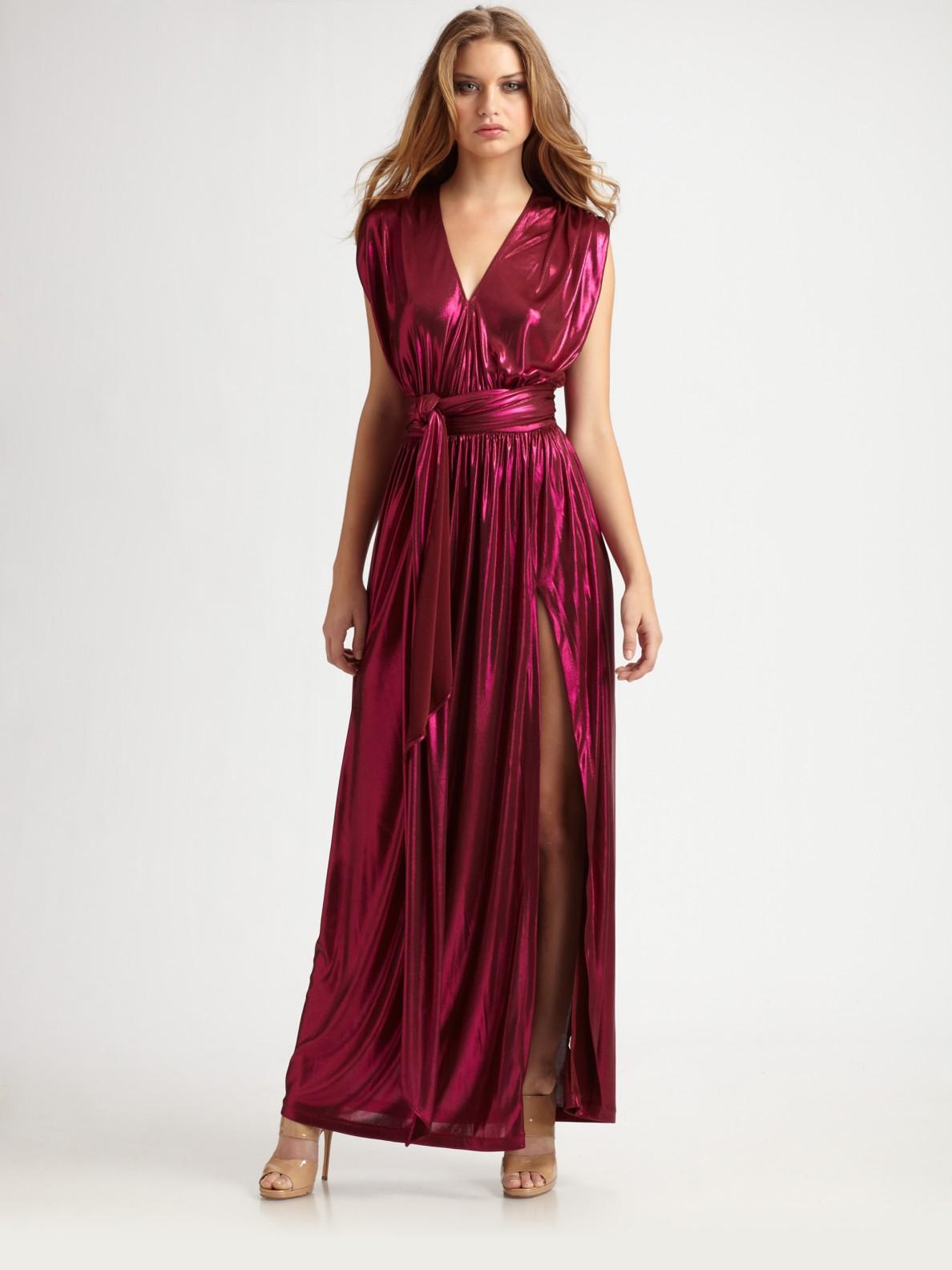 df8fb999ad3c51 Halston Wrap Maxi Dress in Purple - Lyst
