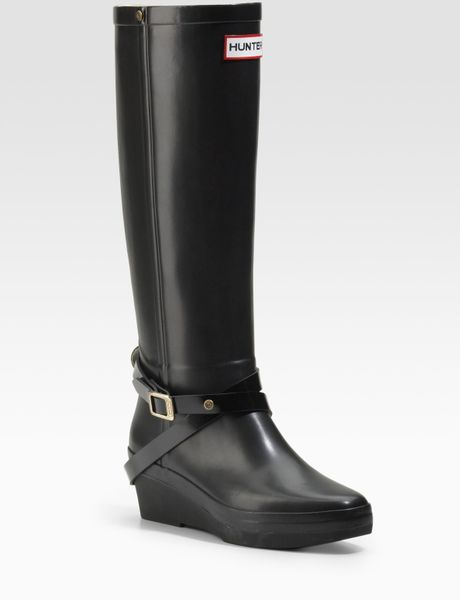 wedge rubber boots in black lyst