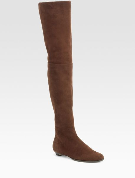 jimmy choo edna suede thigh high flat boots in brown