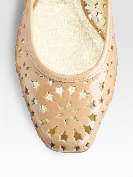 jimmy choo wand cutout patent leather ballet flats in beige nude lyst. Black Bedroom Furniture Sets. Home Design Ideas
