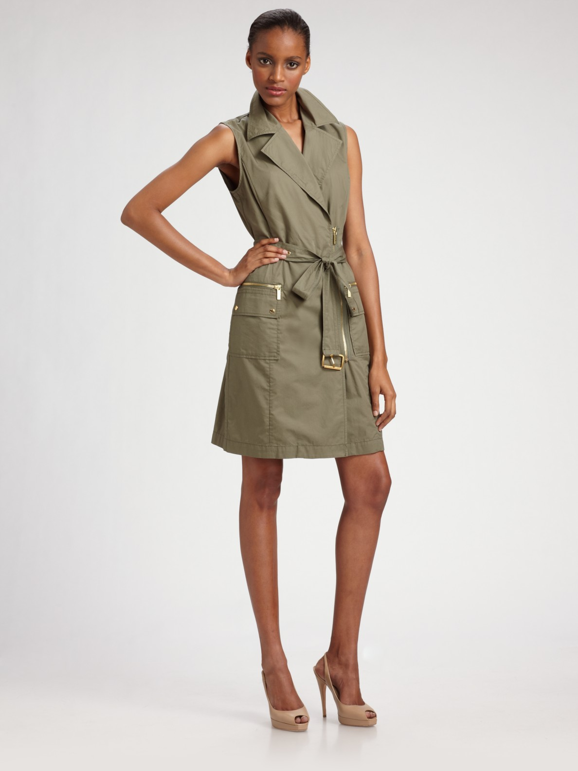 f9b437cc4ebe76 Lyst - MICHAEL Michael Kors Belted Trench Dress in Green