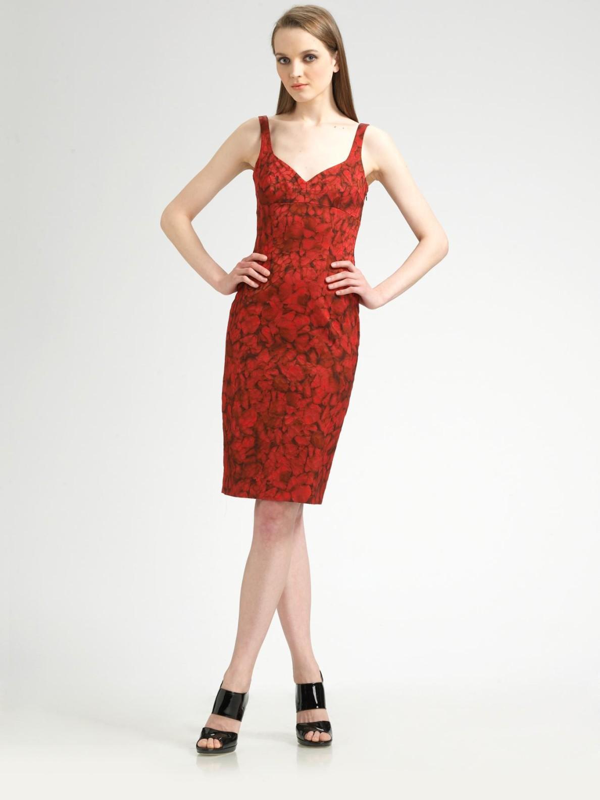 Michael Kors Sleeveless Rose-print Dress in Red (multi) | Lyst