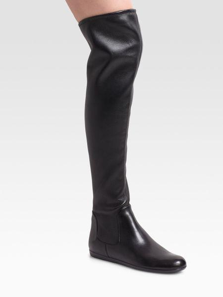 prada the knee flat boots in black lyst