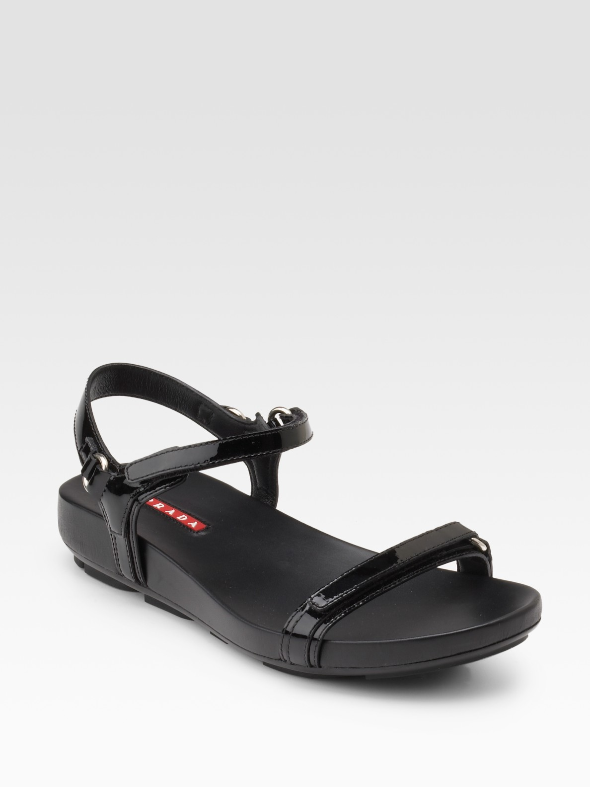 Prada Patent Leather Flat Sandals in